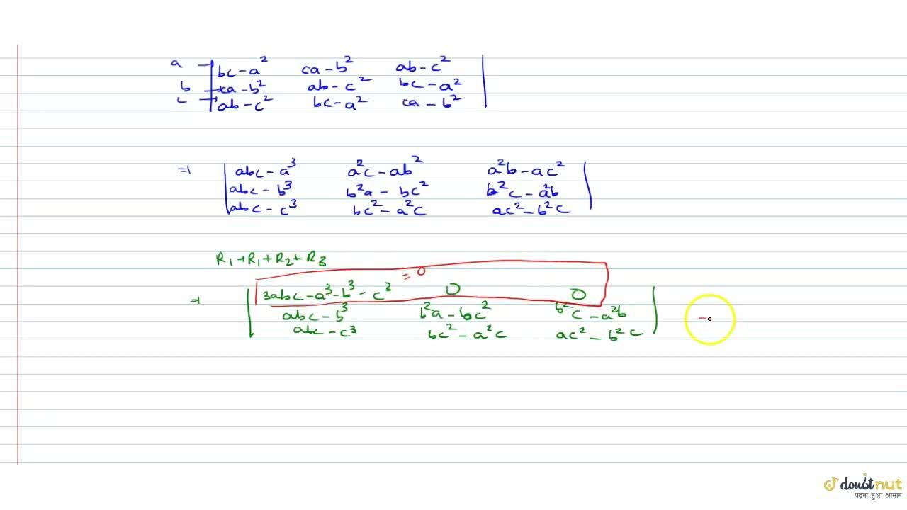 Solution for If the system of equation ax + by + cz = 0, bx + c