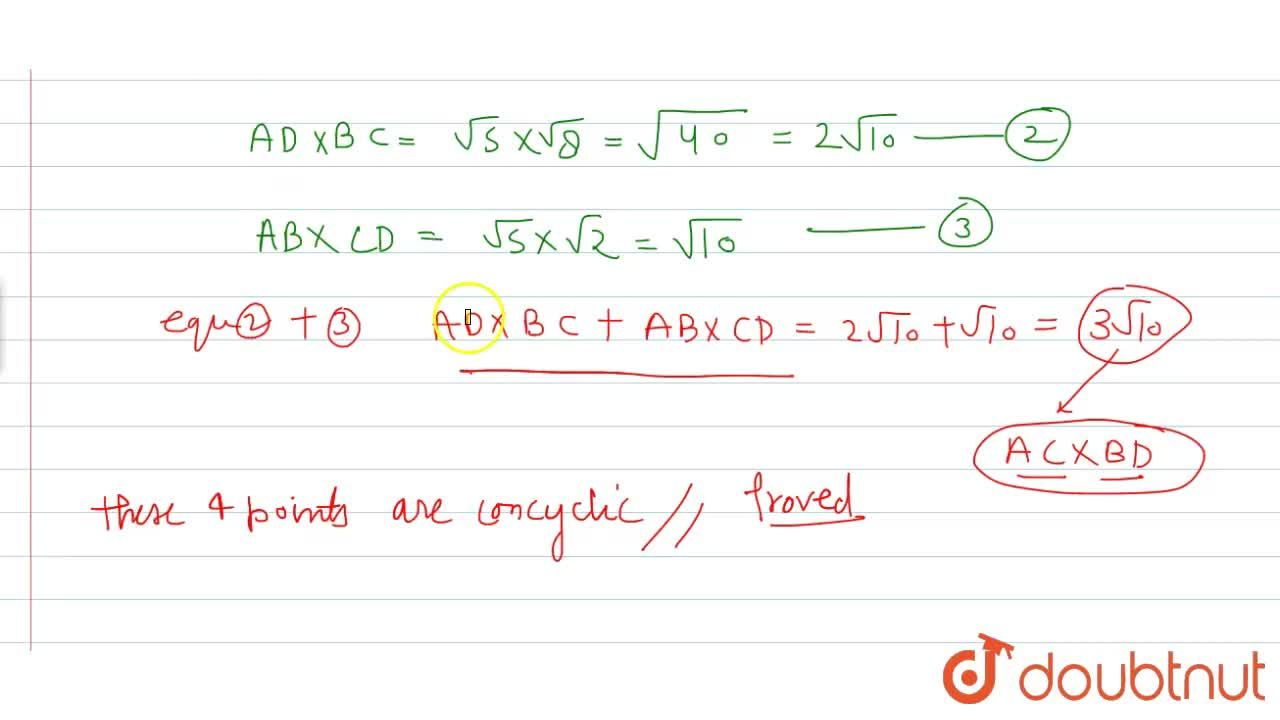 Prove that the points A(4, 0), B(6, 1), C(4, 3) and D(3, 2)  are concyclic.