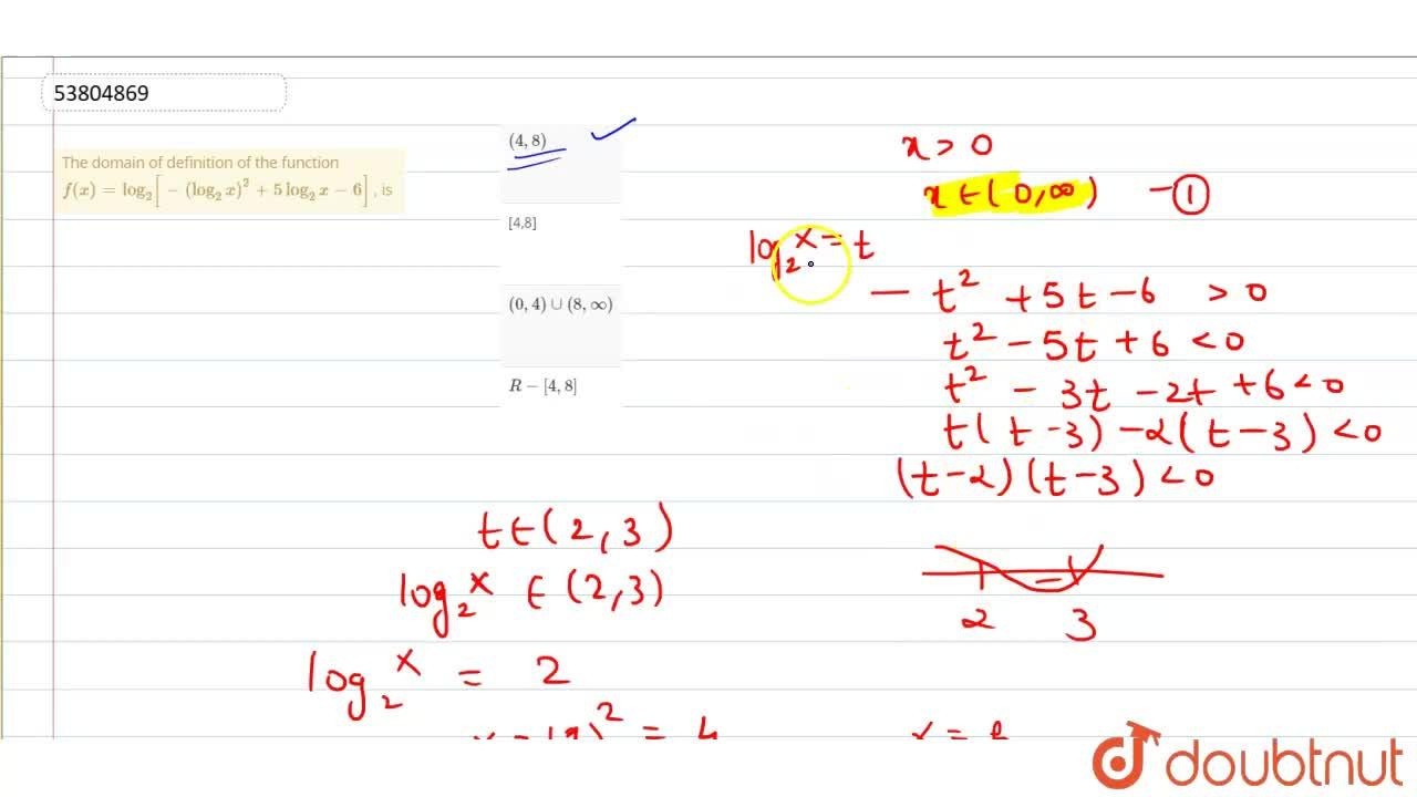 Solution for The domain of definition of the function  f(x)=lo