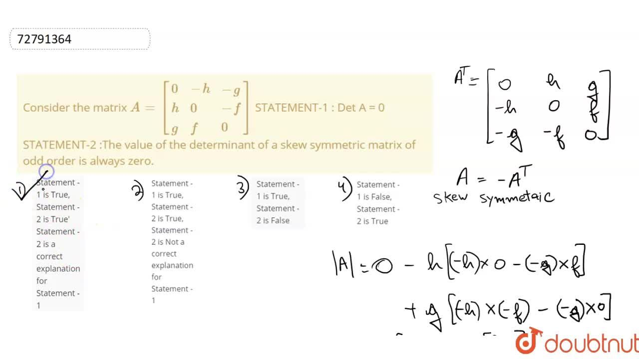 Solution for Consider the matrix A=[{:(0,-h,-g),(h,0,-f),(g,f,