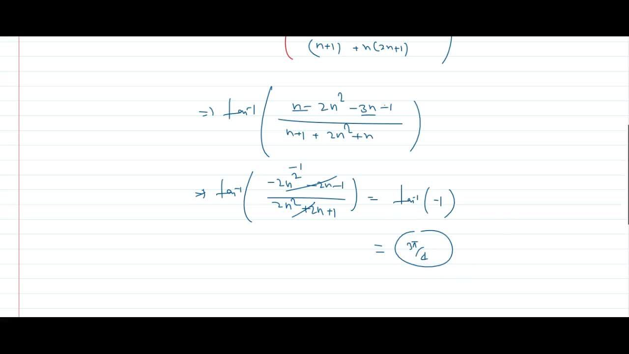 Solution for tan^(-1)(n,(n+1))-tan^(-1)(2n+1)=(3pi),4