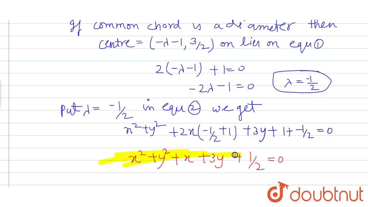 Solution for Find the equation of the circle whose diameter is