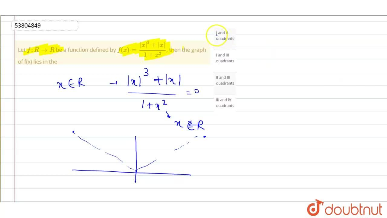 Let f:R to R  be a function defined by f(x)=(|x|^(3)+|x|),(1+x^(2)), then the graph of f(x) lies in the
