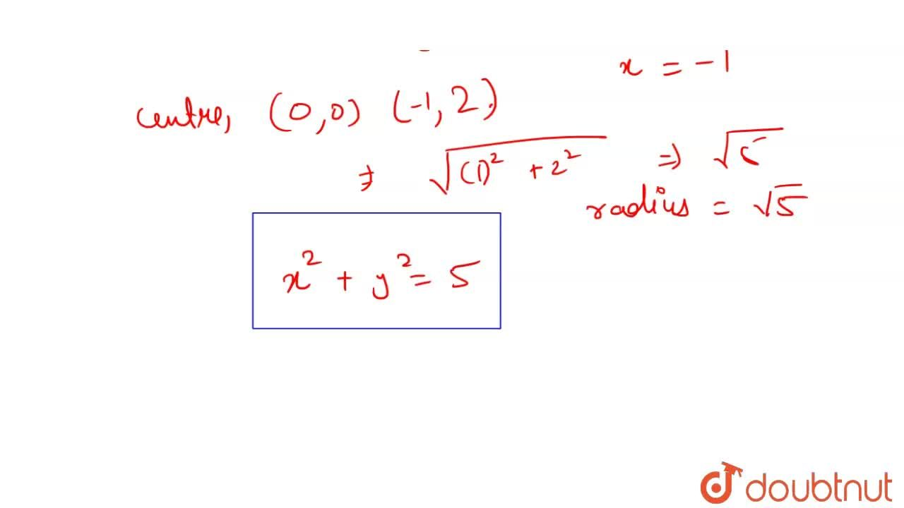 Solution for The equation of the circle having centre (0, 0) an