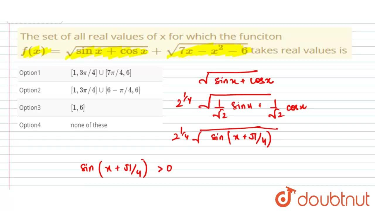 Solution for The set of all real values of x for which the func