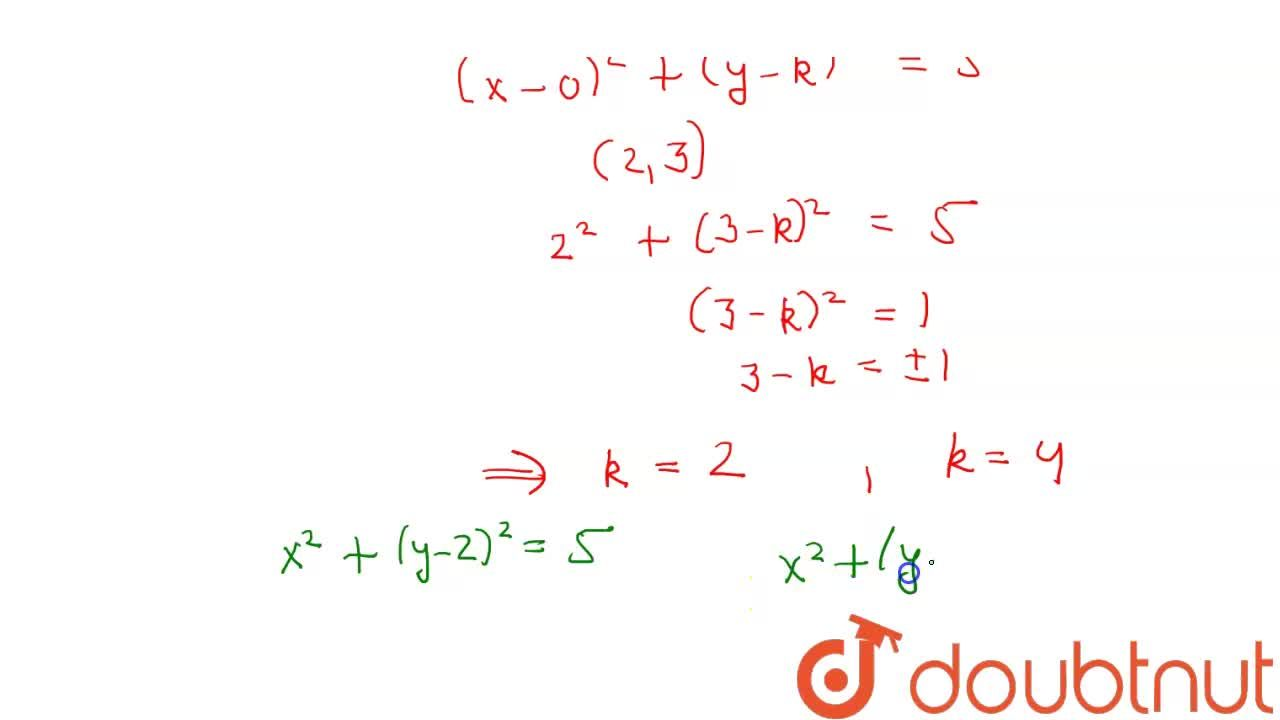 Solution for The equation of the circle with radius sqrt(5)