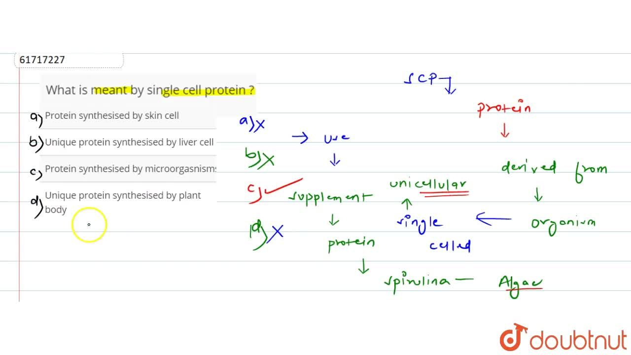 Solution for What is meant by single cell protein ?