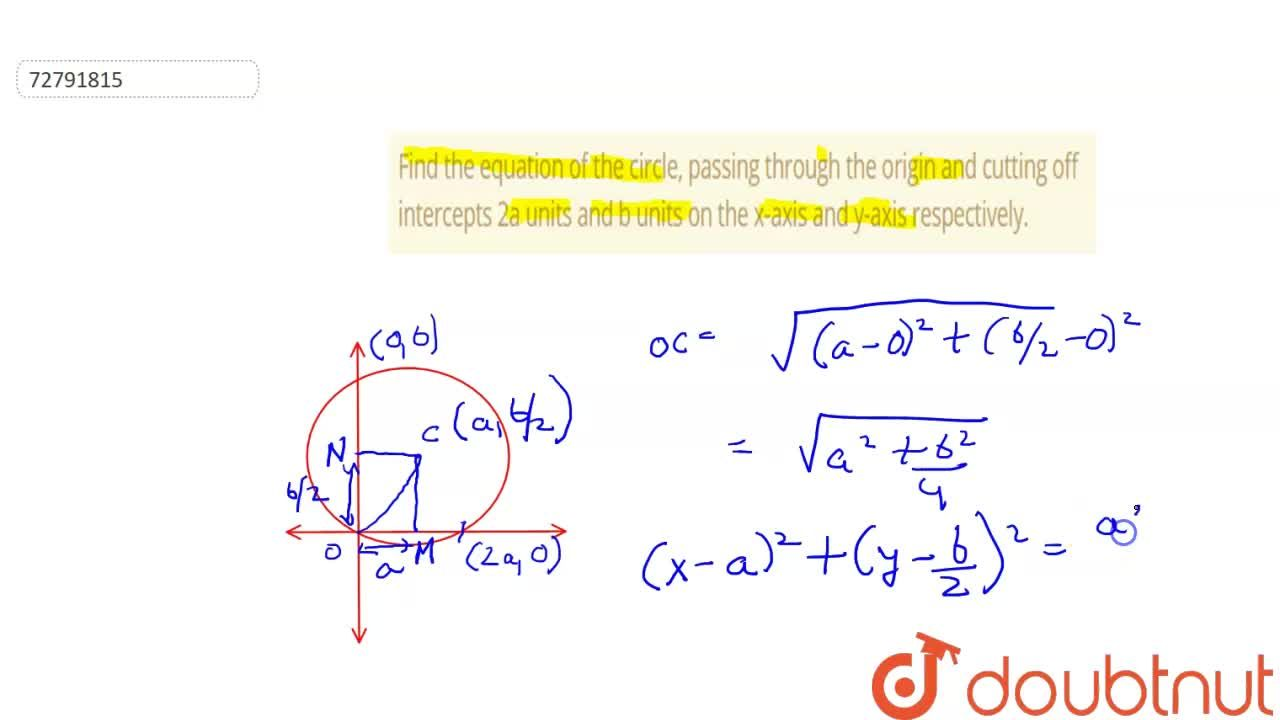 Solution for Find the equation of the circle, passing through t