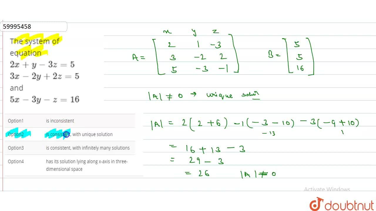 Solution for The system of equation <br> 2x + y - 3z = 5 <br>