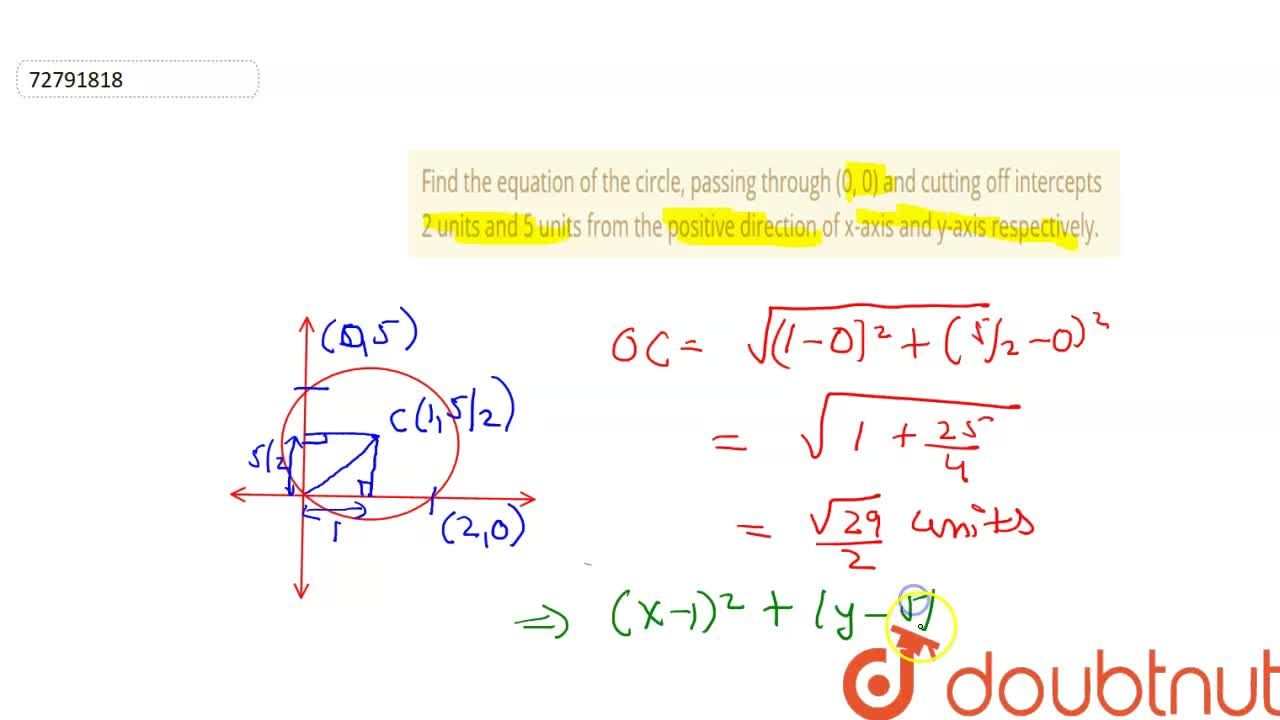 Solution for Find the equation of the circle, passing through (