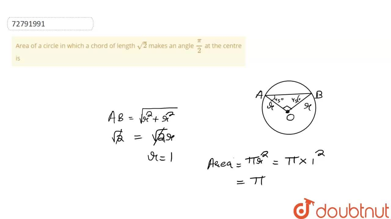 Solution for Area of a circle in which a chord of length sqrt(