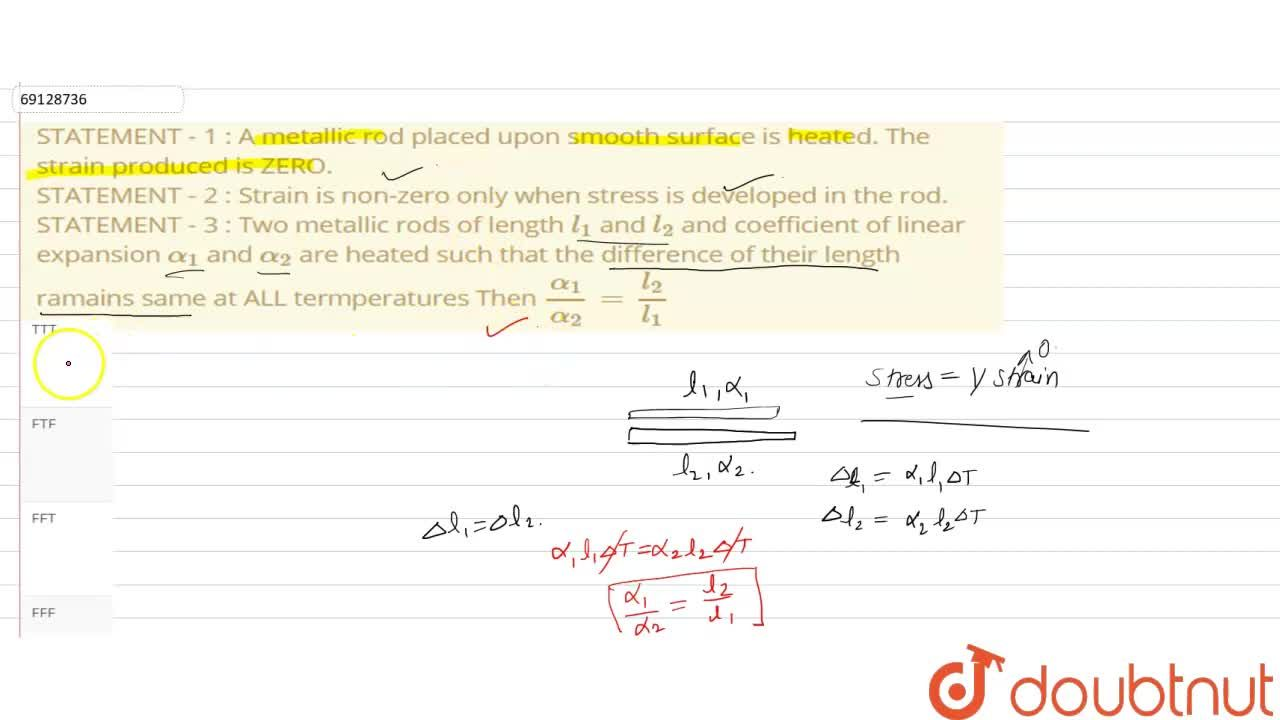 Solution for STATEMENT - 1 : A metallic rod placed upon smooth