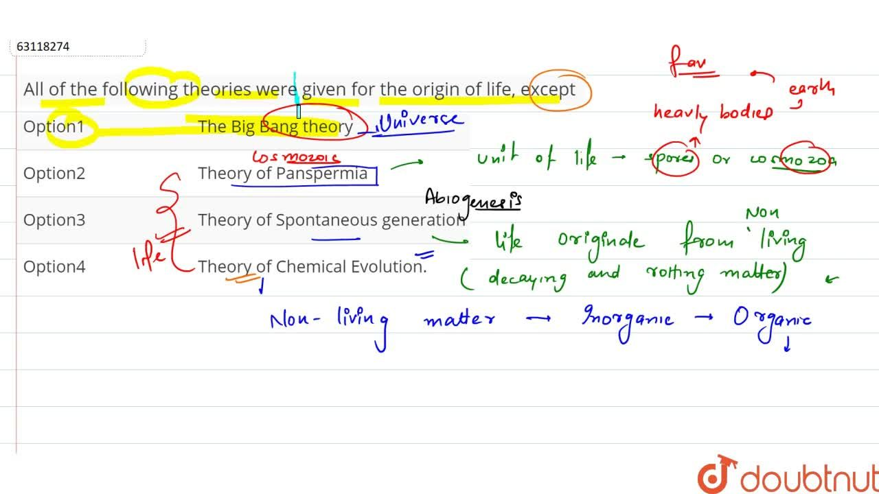 Solution for All of the following theories were given for the o