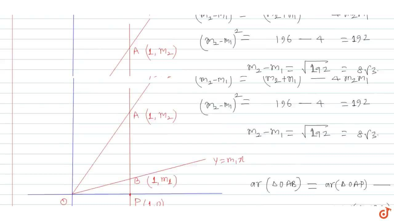 Solution for The area bounded by the line x = 1 and the curve