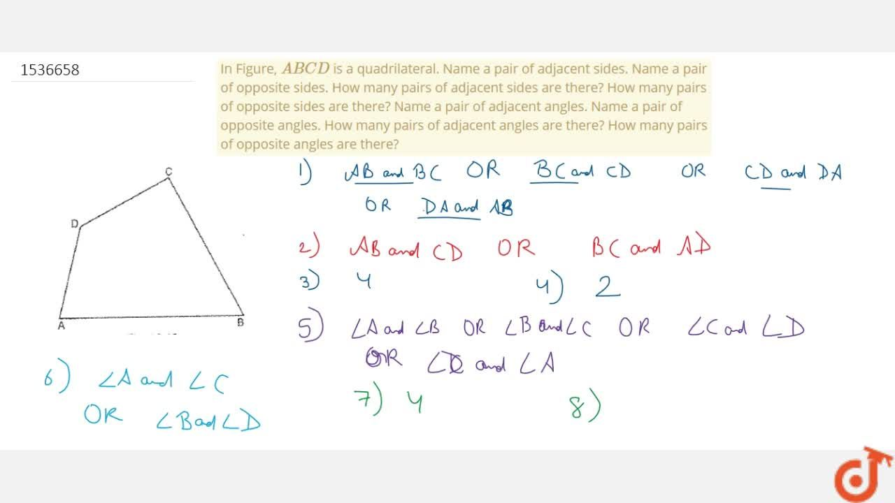 Solution for In Figure, A B C D is a quadrilateral. Name a pa