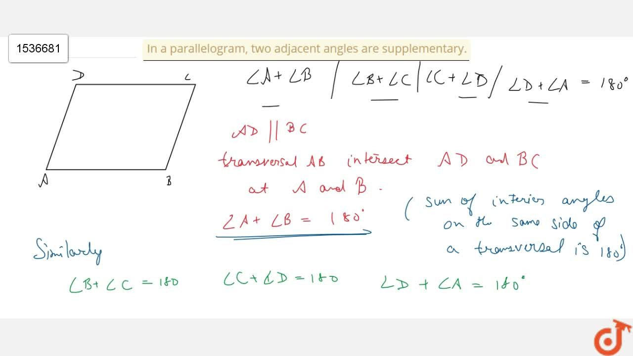 Solution for In a parallelogram, two adjacent angles are   sup