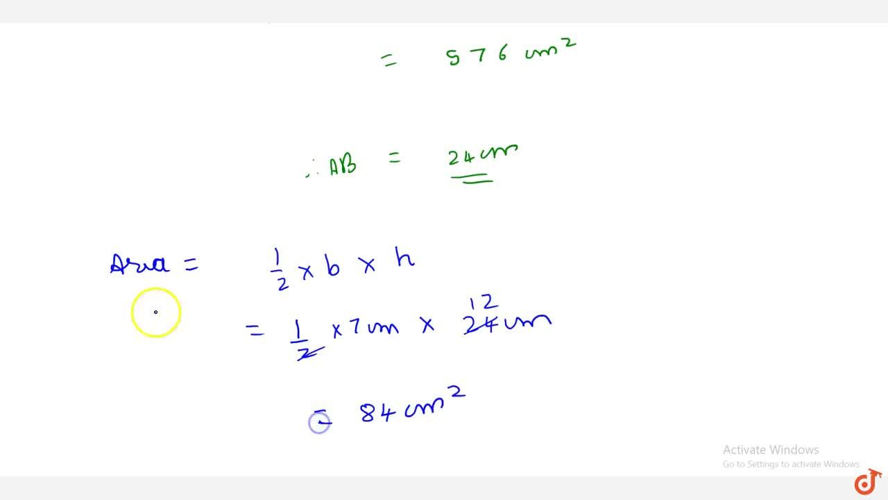 Solution for Find the area of a right angled triangle   with b