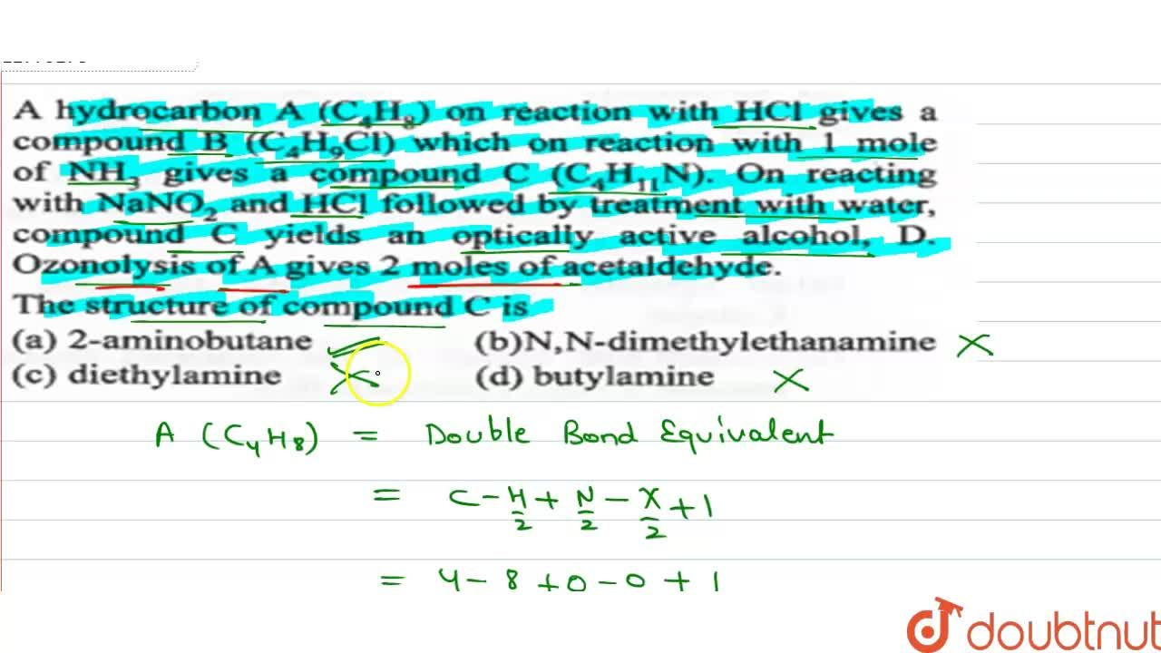 Solution for A hydrocarbon A(C_4H_8) on reaction with HCl giv