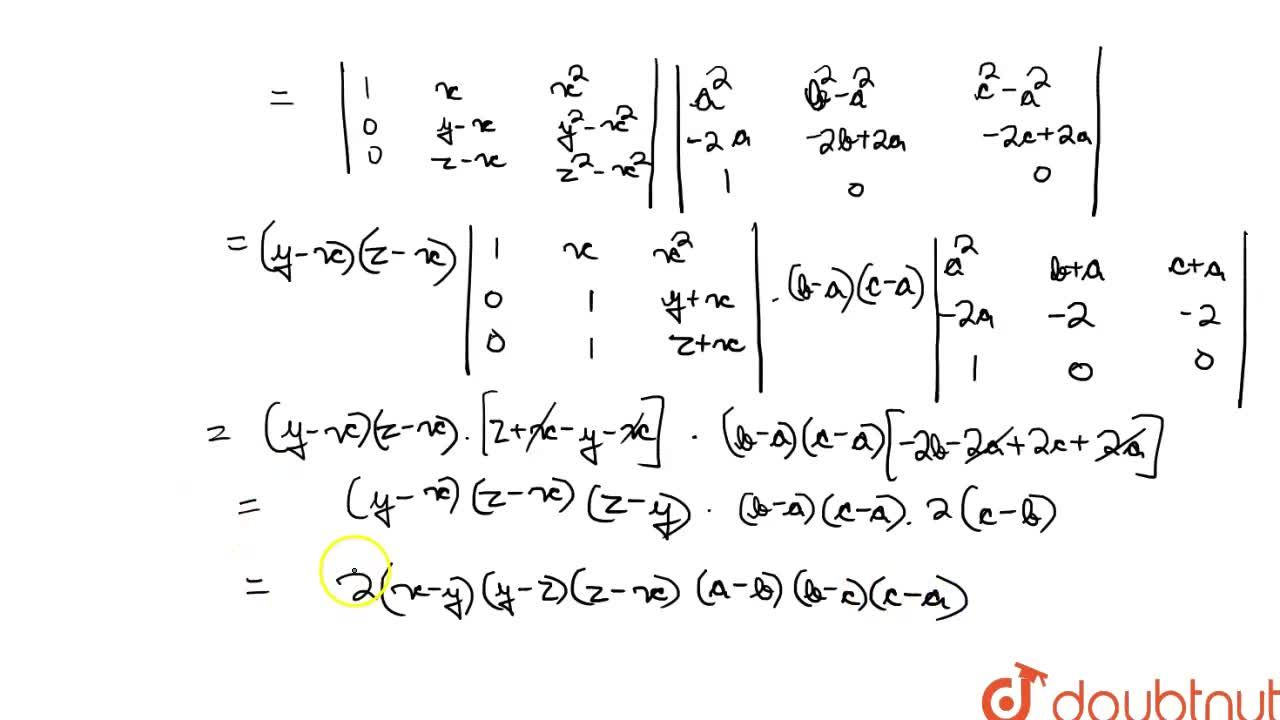 Express Deltaas a product to two deteminants and then find its value. <br> Delta=|{:((a-x)^2,(b-x)^2,(c-x)^2),((a-y)^2,(b-y)^2,(c-y)^2),((a-z)^2,(b-z)^2,(c-z)^2):}|