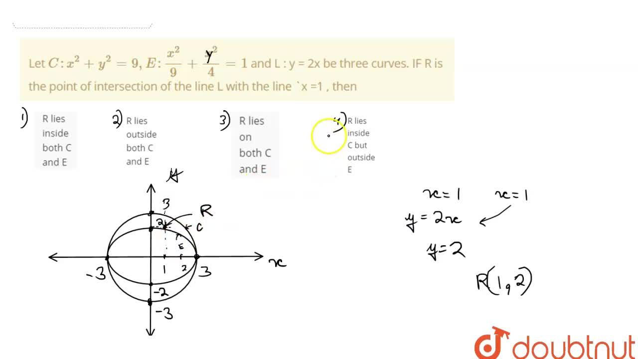 Solution for Let C : x^(2) + y^(2) = 9, E : (x^(2)),(9) + (x^(