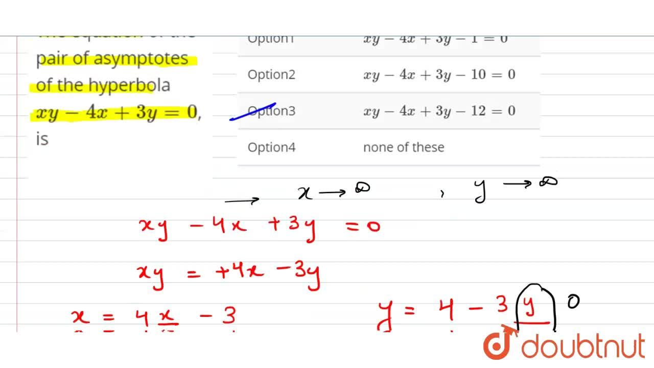 Solution for The equation of the pair of asymptotes of the hype
