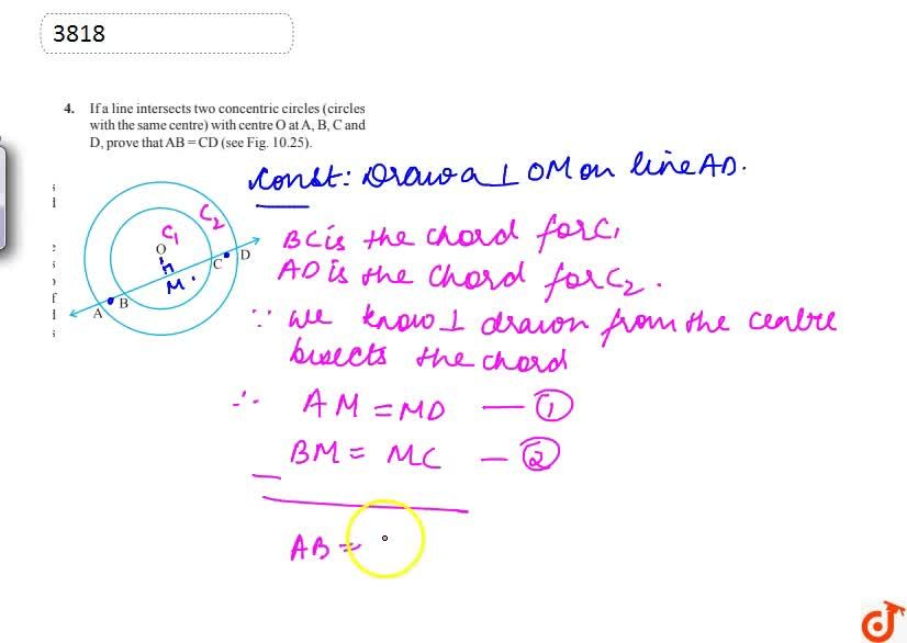 Solution for If a line  intersects two concentric circles (circ