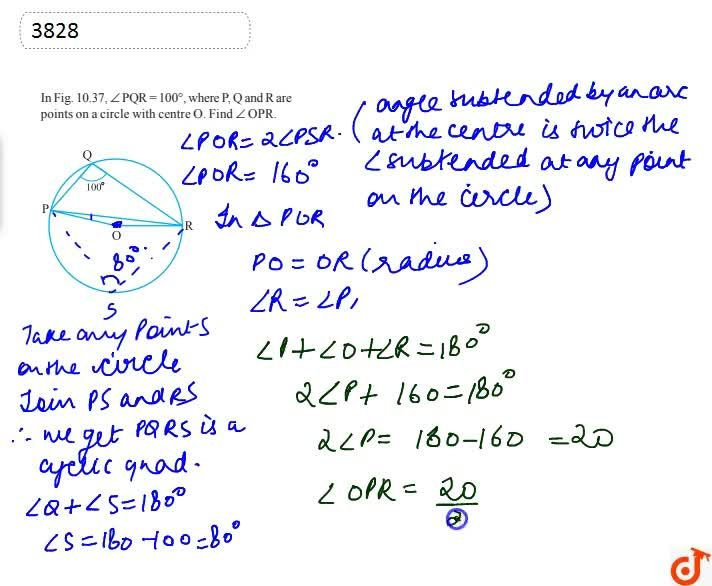 Solution for In Fig. 10.37,  ,_P Q R\ =\ 100o, where P, Q and