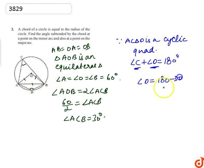 Solution for A chord of a  circle is equal to the radius of the