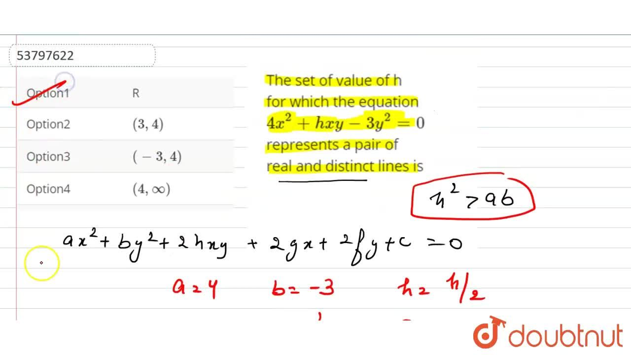 Solution for The set of value of h for which the equation 4x^(