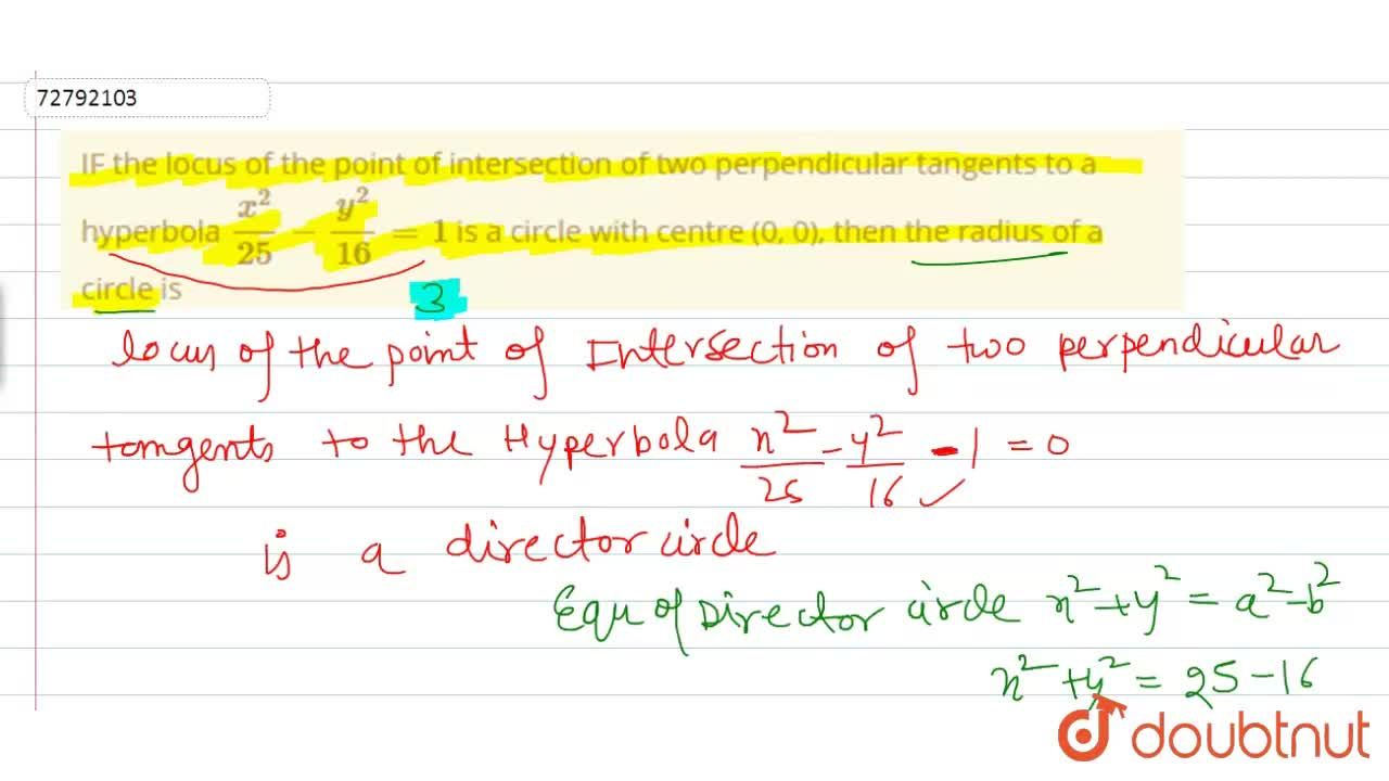 Solution for IF the locus of the point of intersection of two p