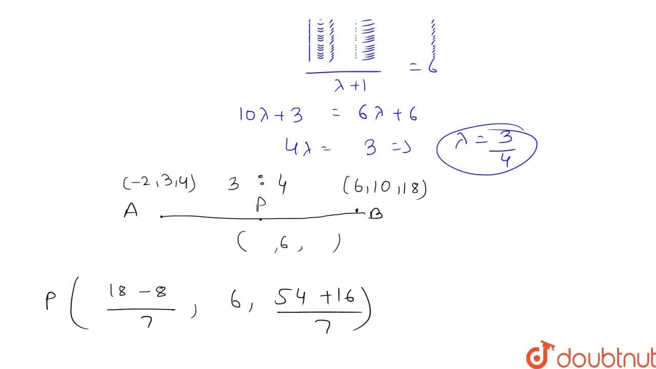 Solution for A point with y-coordinate 6 lies on the line segme