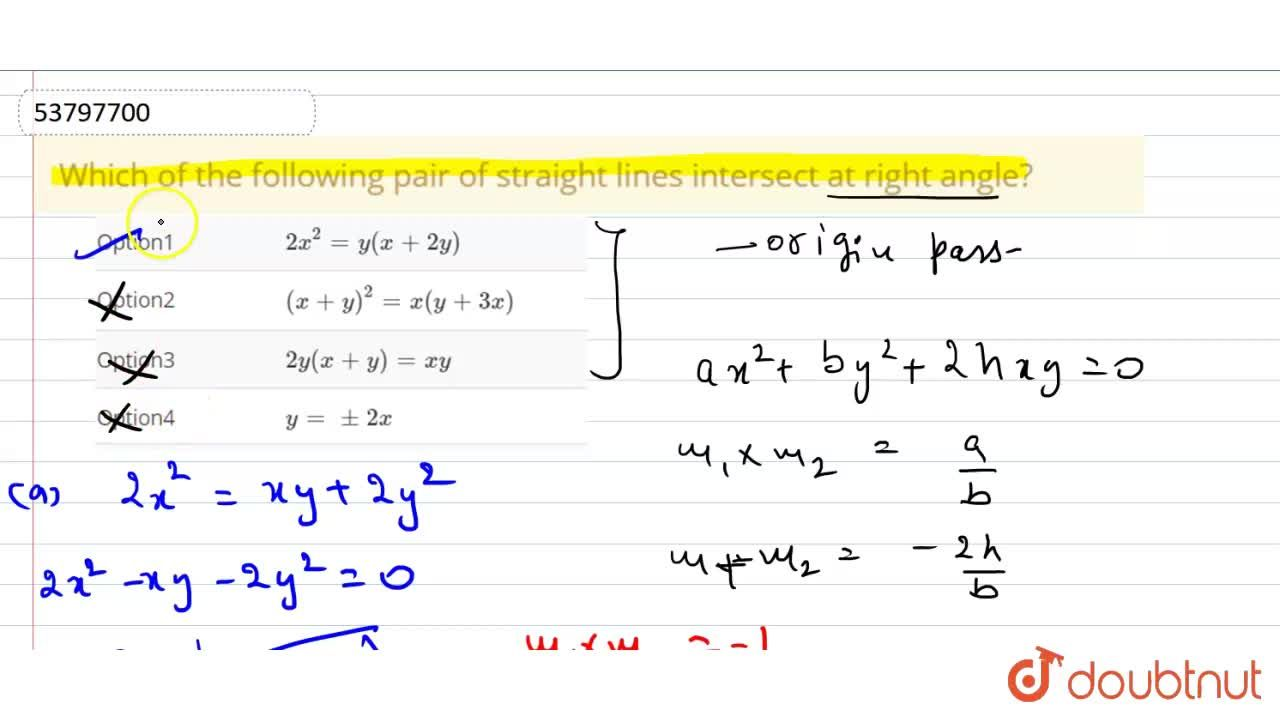 Solution for Which of the following pair of straight lines inte