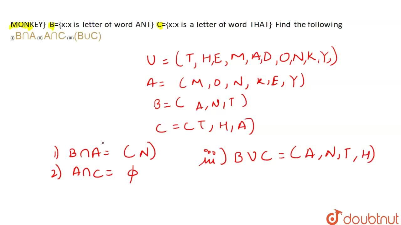 Solution for If universal set, U={x:x  is a letter in the phras