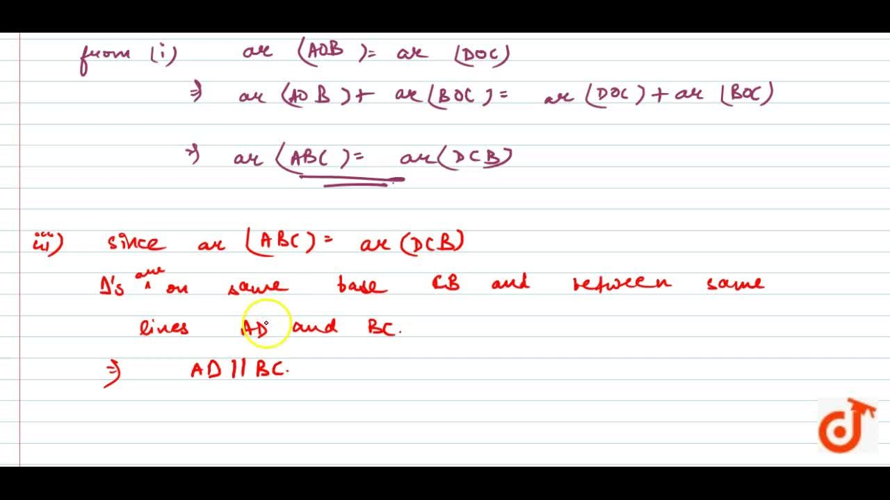 Solution for In Fig. 9.25,  diagonals AC and BD of quadrilatera