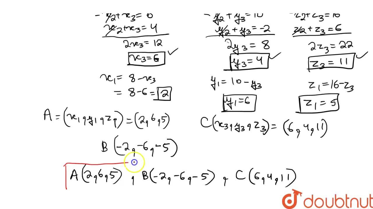 Solution for The mid-points of the sides of a triangle ABC are