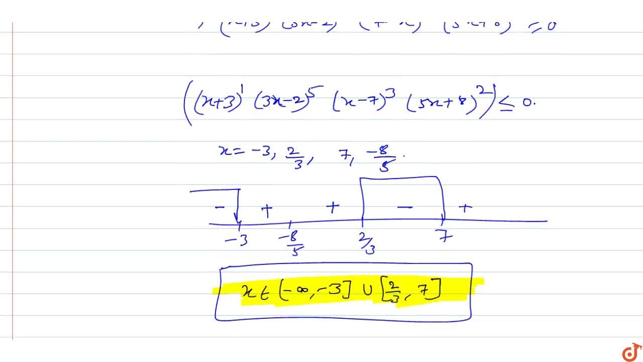 Solution for  Solve the inequality (x+3)(3x-2)^5(7-x)^3(5x+8)^