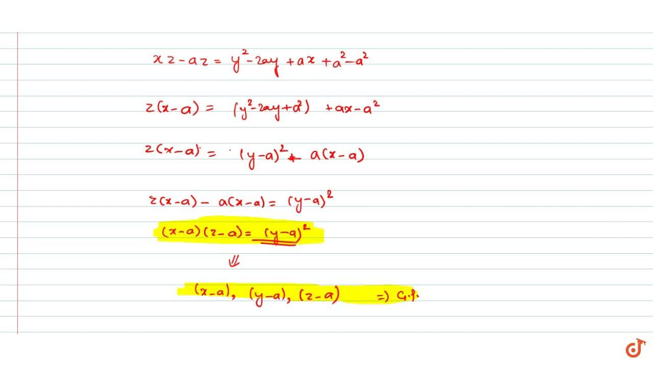 Solution for  If  2 (y - a)  is the  H.M. between  y - x