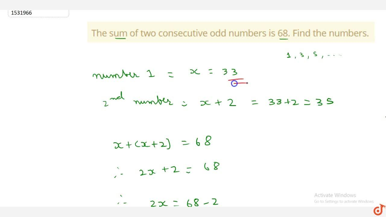 Solution for The sum of two consecutive odd numbers is 68. Find