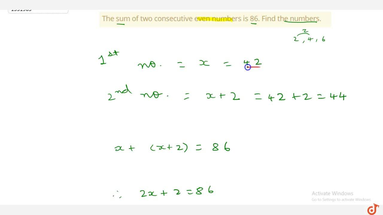 Solution for The sum of two consecutive even numbers is 86. Fin