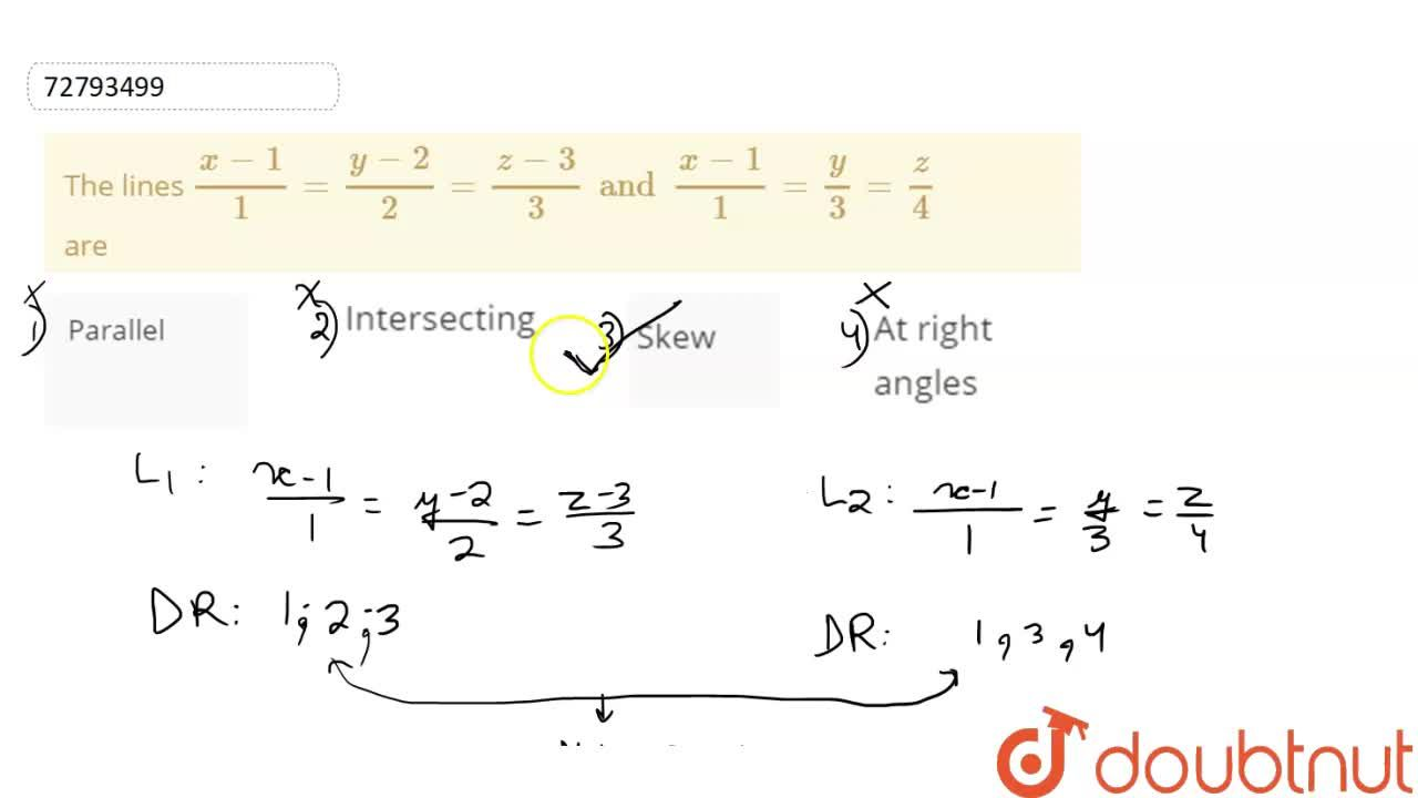 Solution for The lines (x-1),1=(y-2),2=(z-3),(3) and (x-1),1=y
