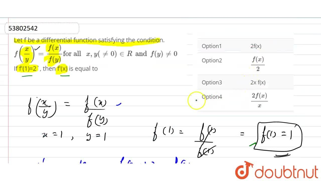 Solution for Let f be a differential function satisfying the co