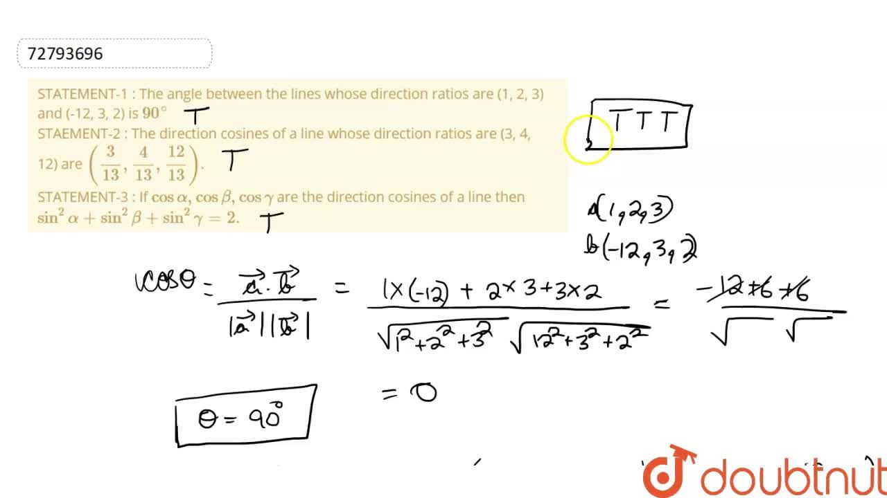 Solution for STATEMENT-1 : The angle between the lines whose di