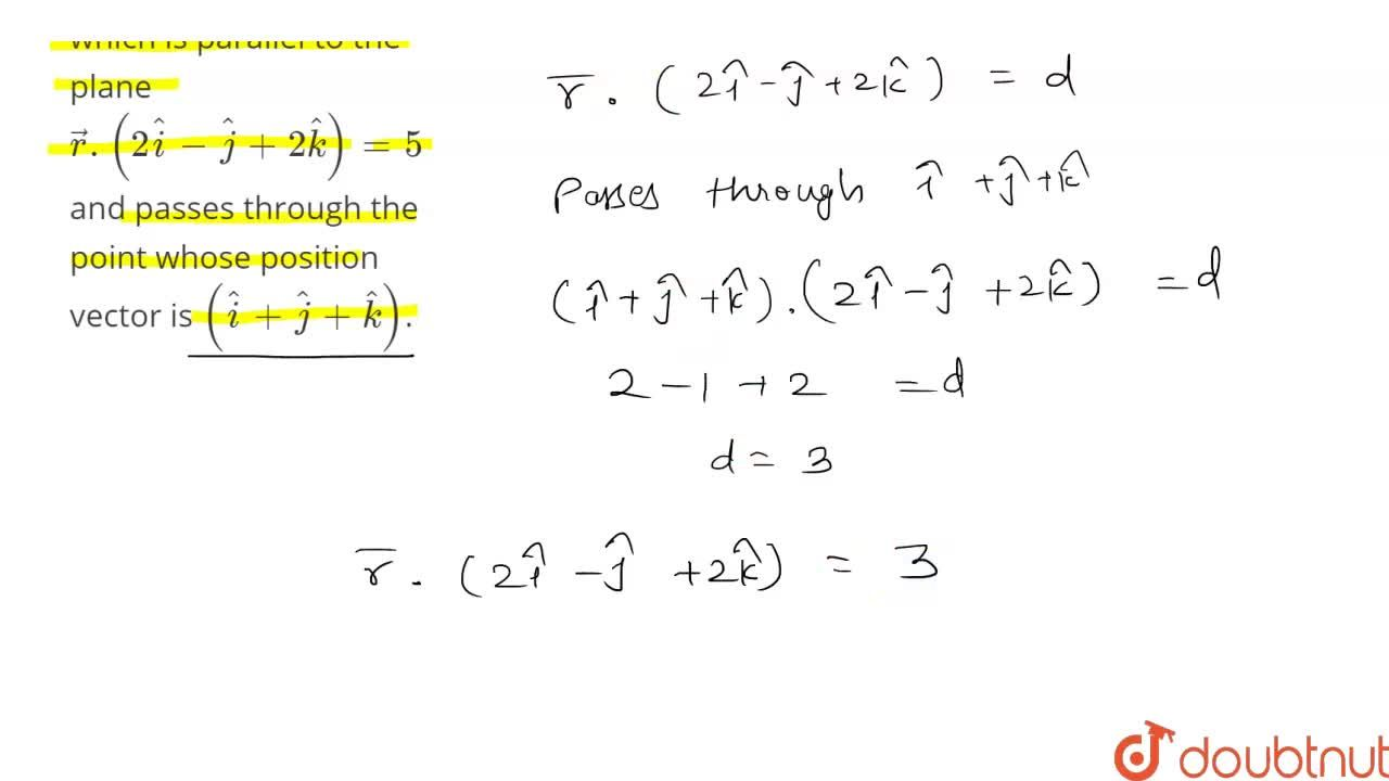 Solution for Find the vector equation of a plane which is paral
