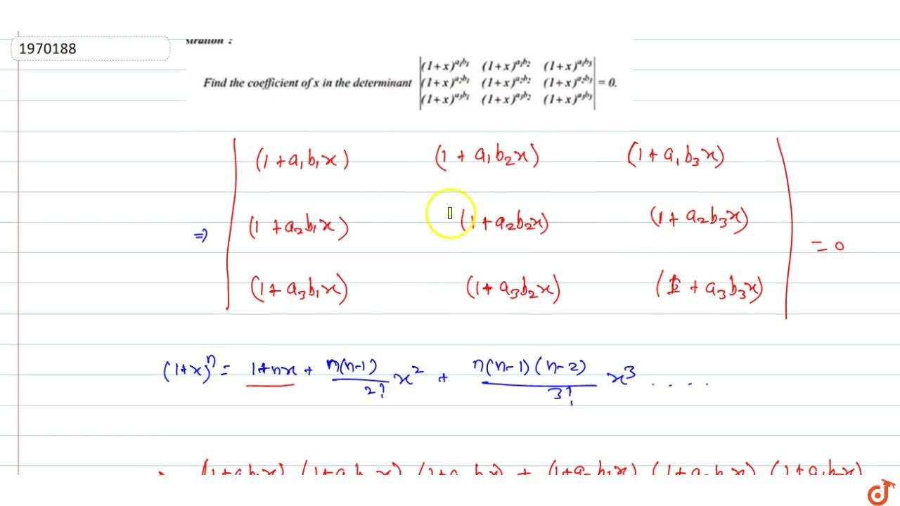 Solution for Find the coefficient of x in the determinant |((1