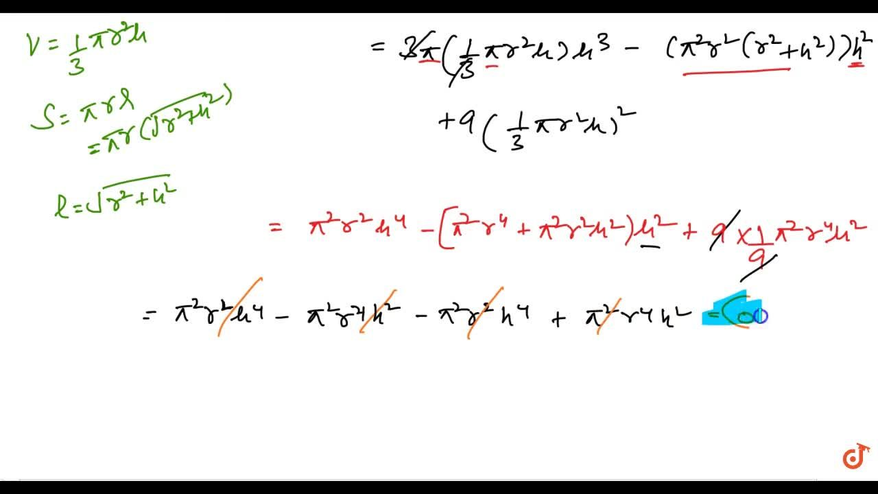 Solution for If h ,\ S\ a n d\ V denote respectively the heig