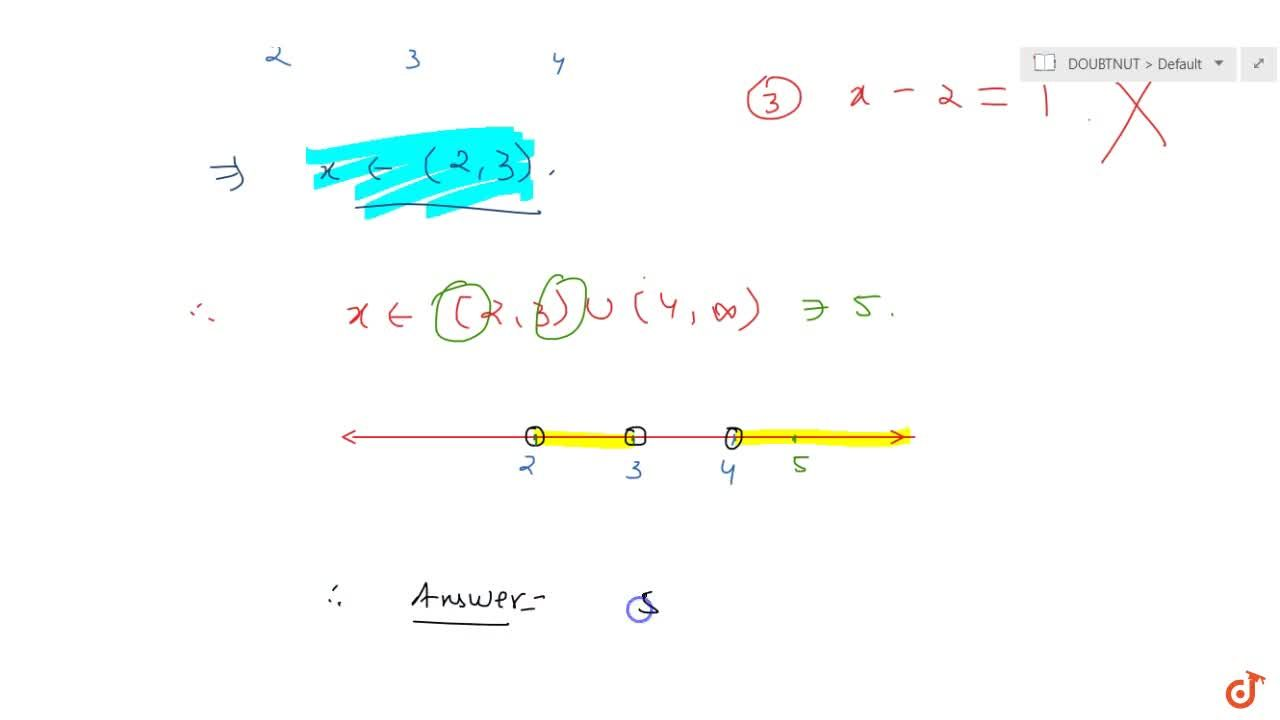 Find small integral value of x satisfying (x-2)^(x^2-6x+8)gt1