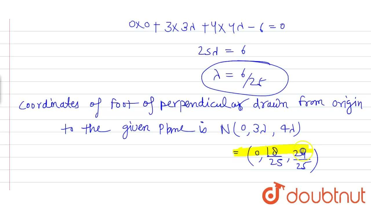 Solution for Find the coordinates of the foot of the perpendicu