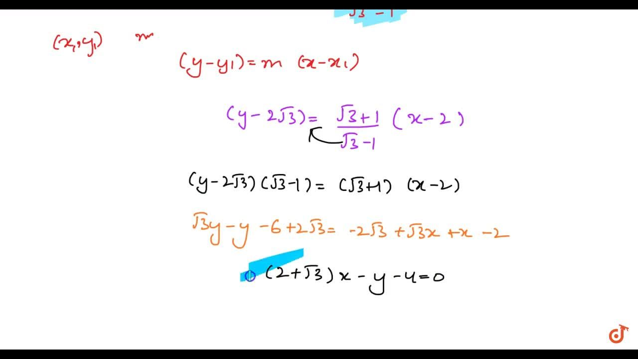 Solution for Find the equation of the line passing through (2,