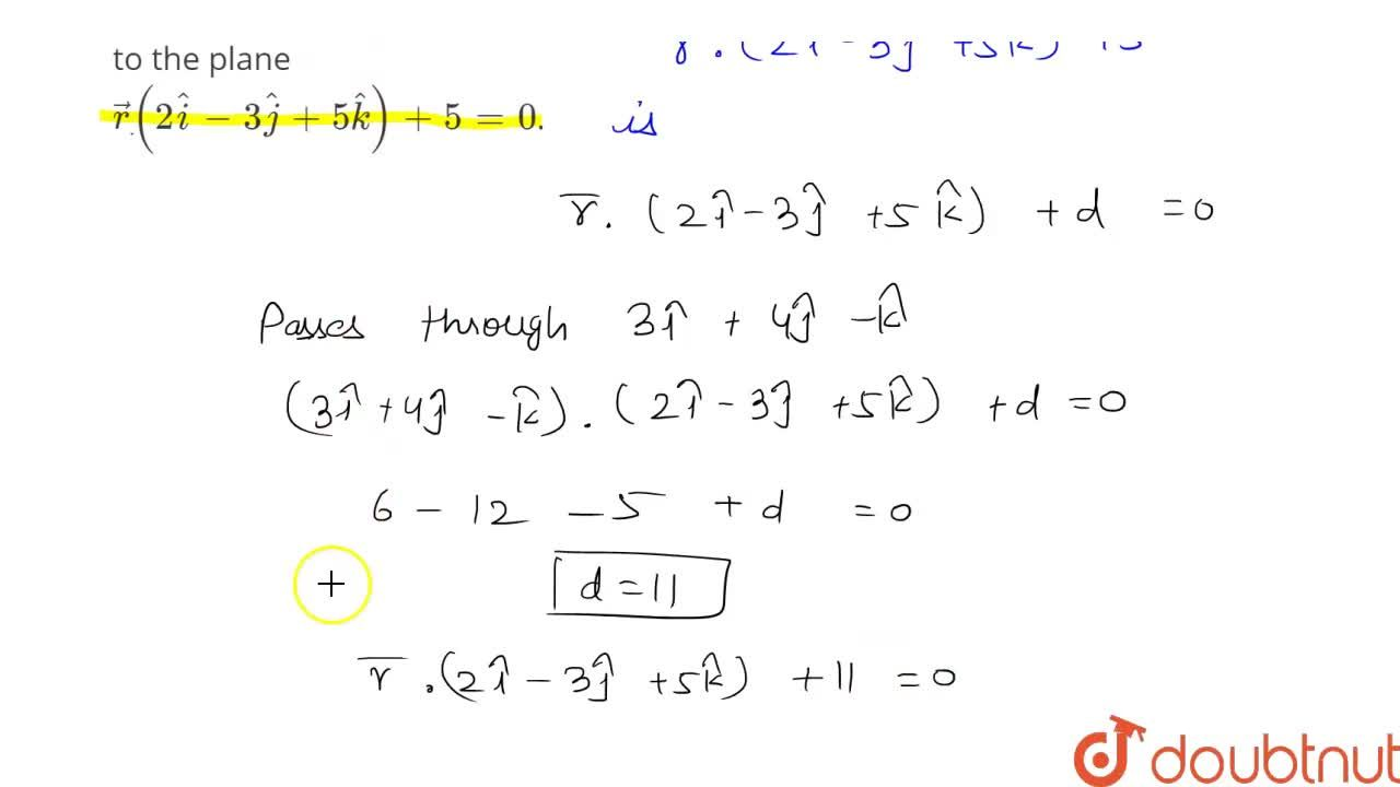 Solution for Find the vector equation of the plane through the