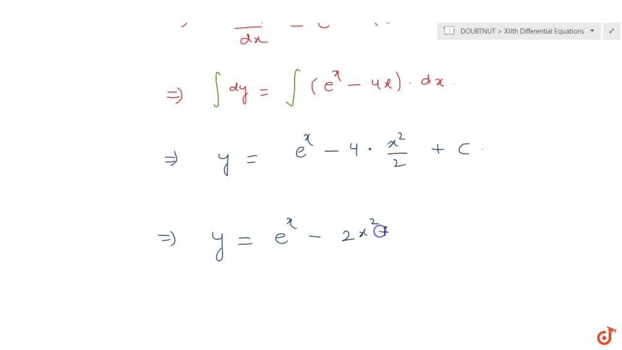Solve the differential equation: (dy),(dx)+\ 4x=e^x